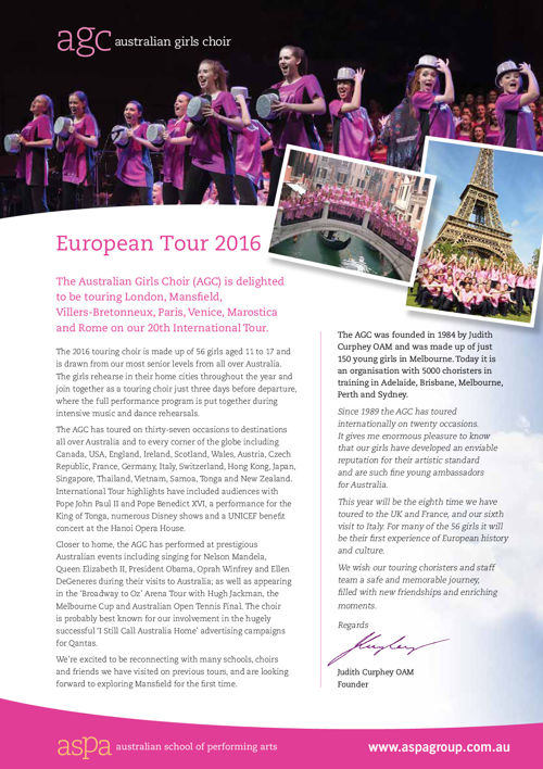 AGC 2016 International Tour Program
