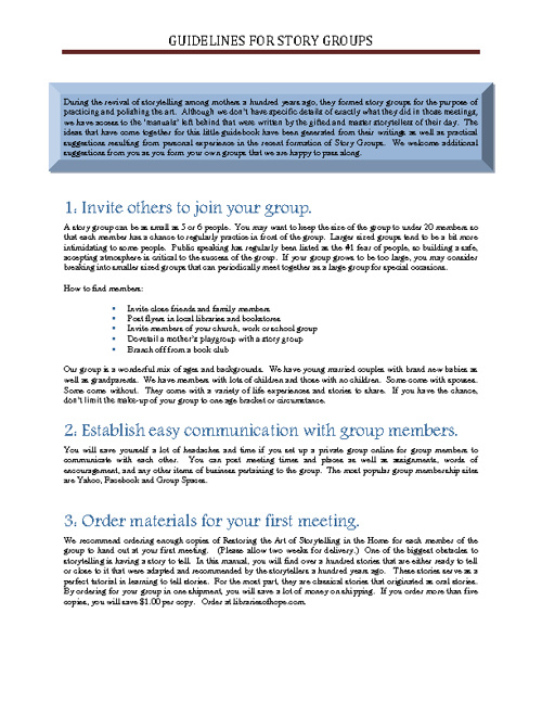 Story Group Guidelines