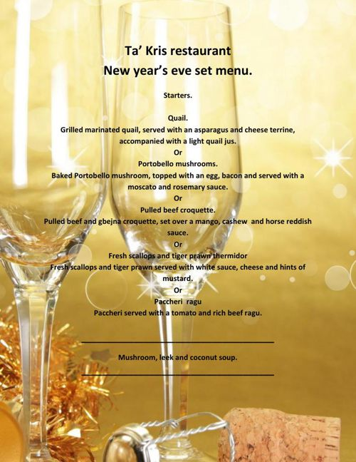 New Year's eve set menu