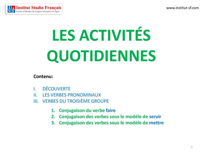 Les activités quotidiennes - les verbes pronominaux