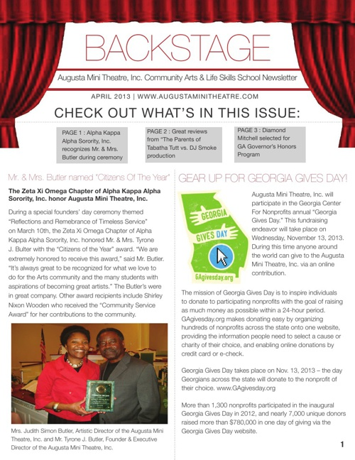 Augusta Mini Theatre Backstage Newsletter- April 2013 Finalreduc