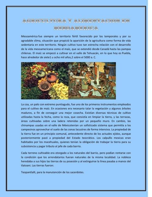 AGRICULTURA Y ALIMENTACION EN MESOAMERICA