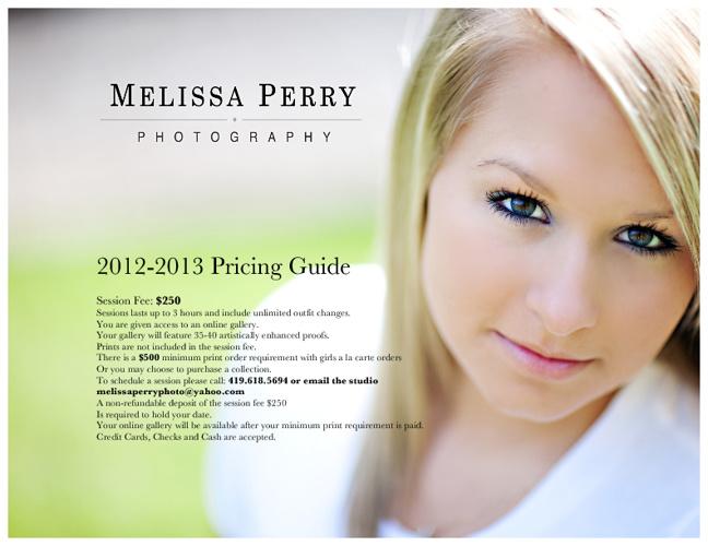 Senior Portrait Pricing Guide 2012-2013
