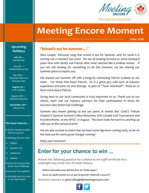 June 2016 - Newsletter