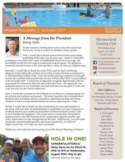 WCC Member Newsletter   September 2017