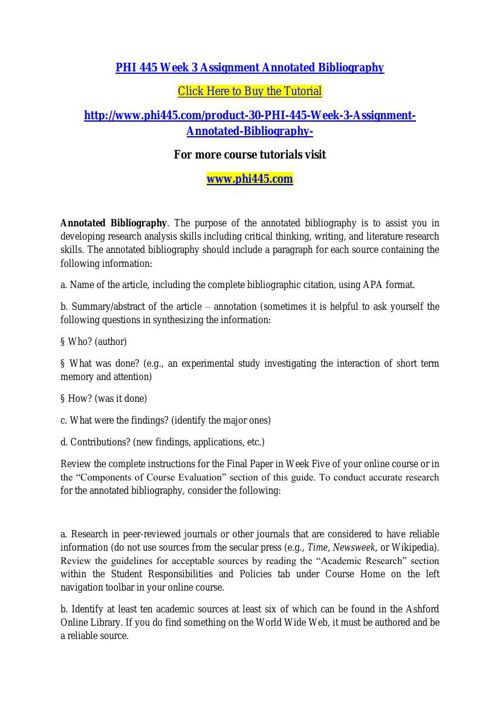 PHI 445 Week 3 Assignment Annotated Bibliography