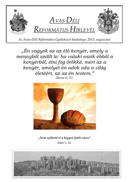 Gyülekezeti Hírlevél 2013. augusztus