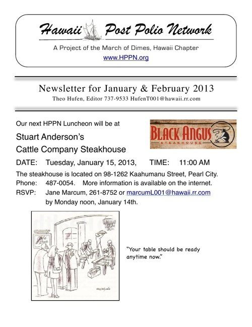 2013 January + February Newsletter