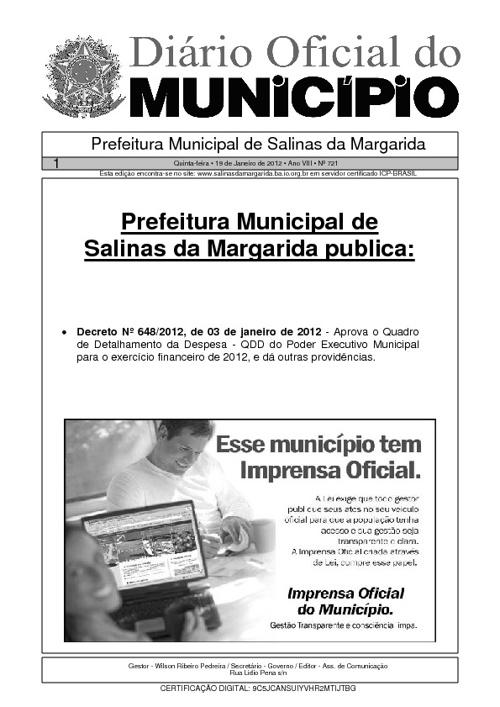 Diário Oficial do Município de Salinas da Margarida
