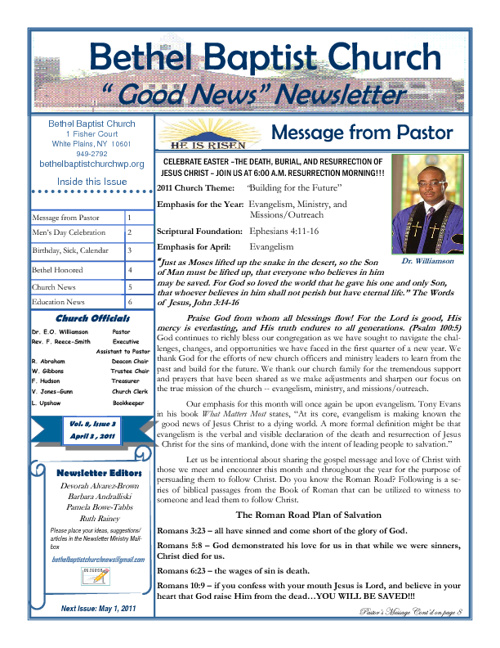 Bethel Baptist Church God News Newsletter