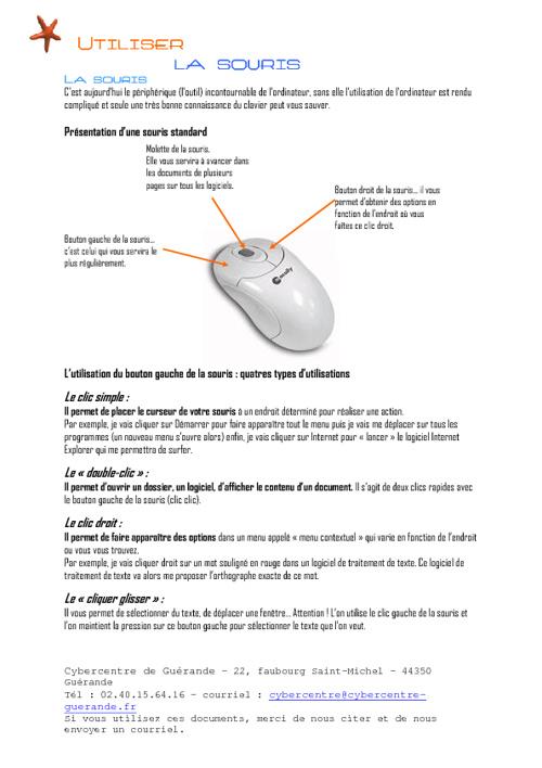Utlisation de la souris