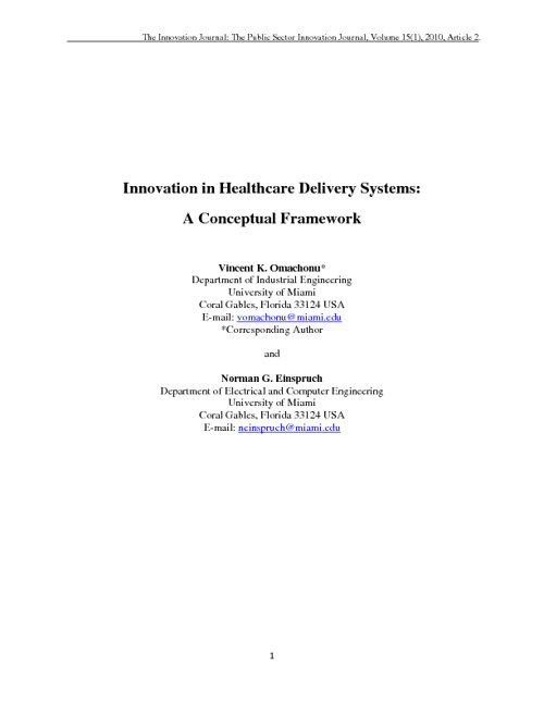 Innovation in Health Care Delivery