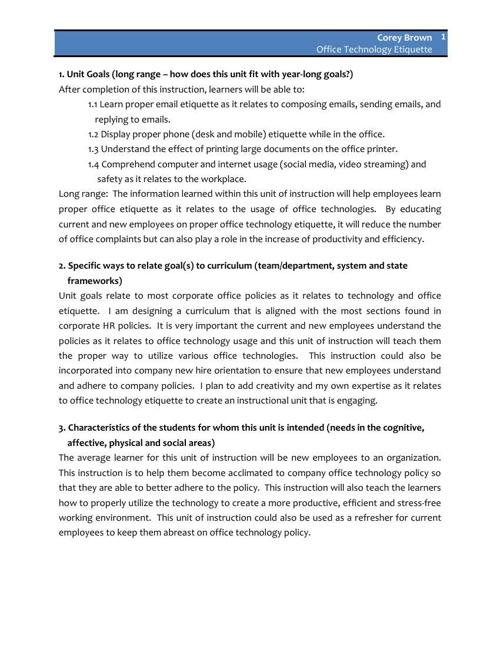 Week 2 - Unit of Instruction Outline (Office Tech Etiquette)