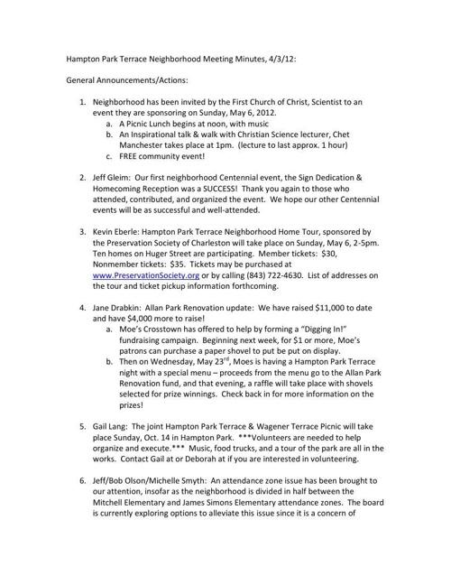 HPTNA Meeting Minutes
