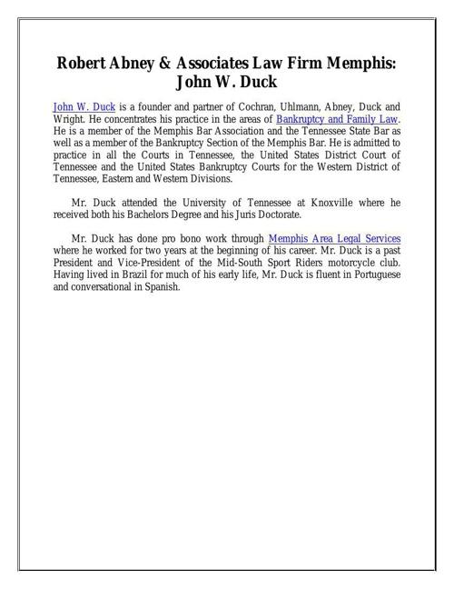 Robert Abney & Associates Law Firm Memphis: John W. Duck