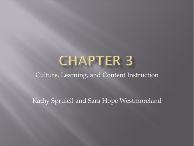 Chapter 3 ESOL