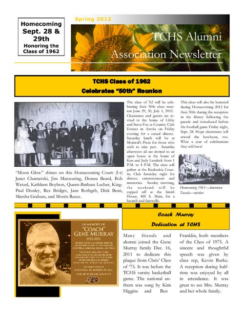 Spring 2012 TCHS Alumni Newsletter