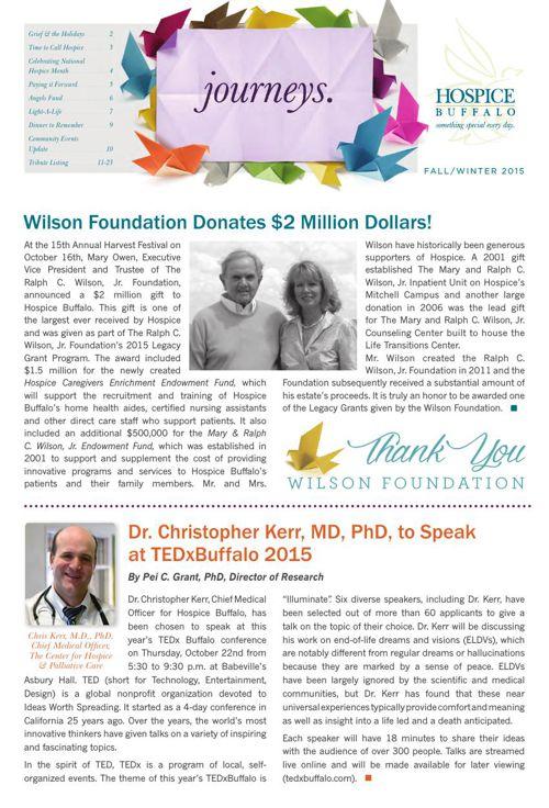 Hospice Fall/Winter Journeys Newsletter