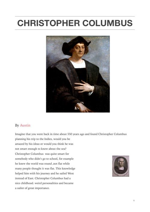 Christopher Columbus Biography by Austin