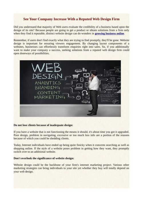 See Your Company Increase With a Reputed Web Design Firm