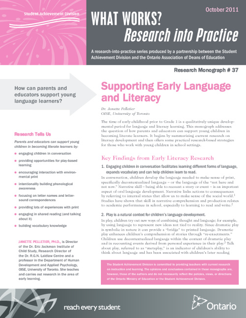 Supporting Early Language and Literacy