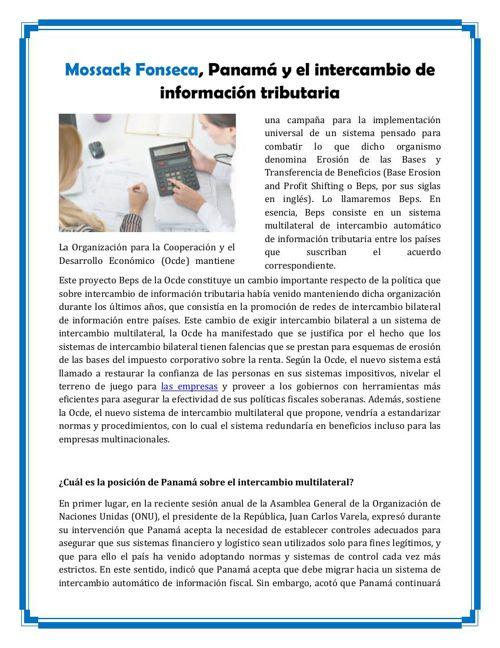 Mossack Fonseca, Panamá y el intercambio de información tributar