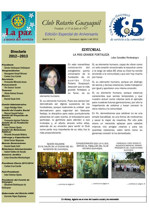 Boletín # 4.  Edición Especial de Aniversacrio