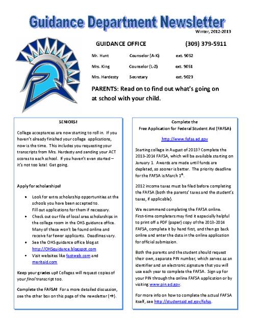 OHS Guidance Newsletter - Winter 2012-13