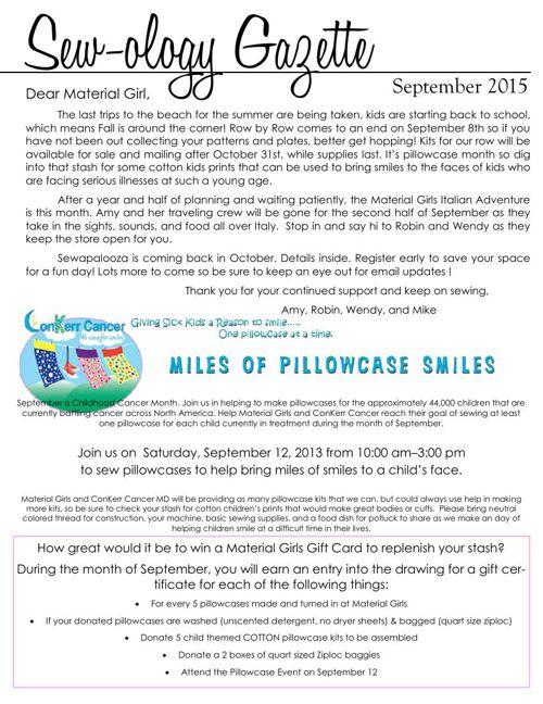 Material Girls Sew-ology Gazette September 2015