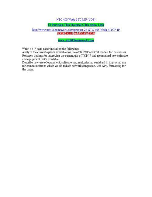 NTC 405 Week 4 TCP or IP (UOP)
