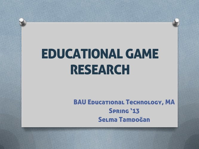 Educational Game Research