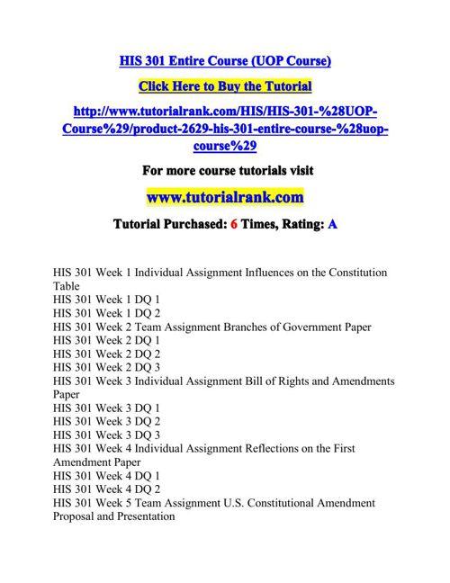 HIS 301 Potential Instructors / tutorialrank.com