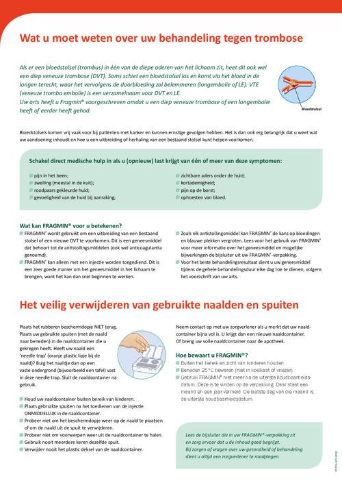 CAT spuitinstructiekaart voor Fragmin, dalteparine