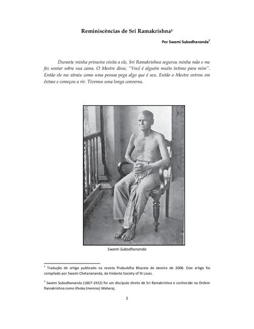 Reminiscências de Sri Ramakrishna
