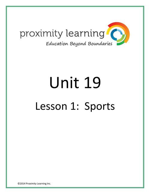 CHN 4 Unit 19 Lesson 1: Sports