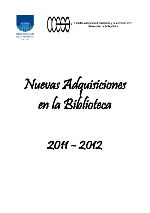 Novedades en la Biblioteca 2011 - 2012