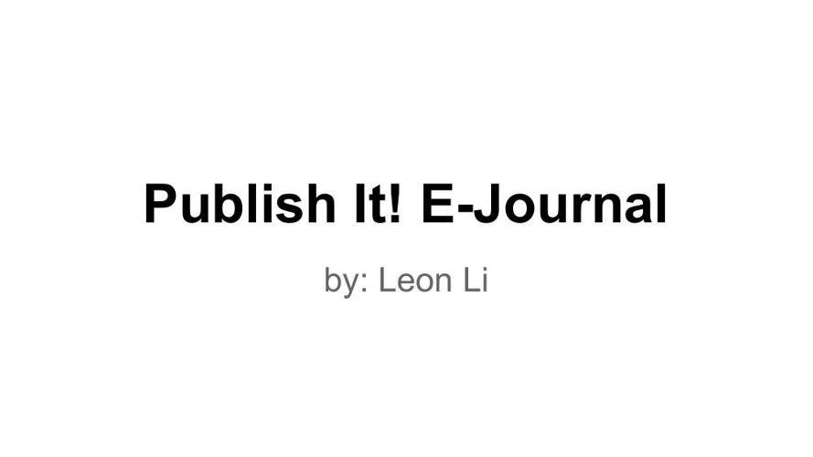Publish It! E-Journal  - Li En Li