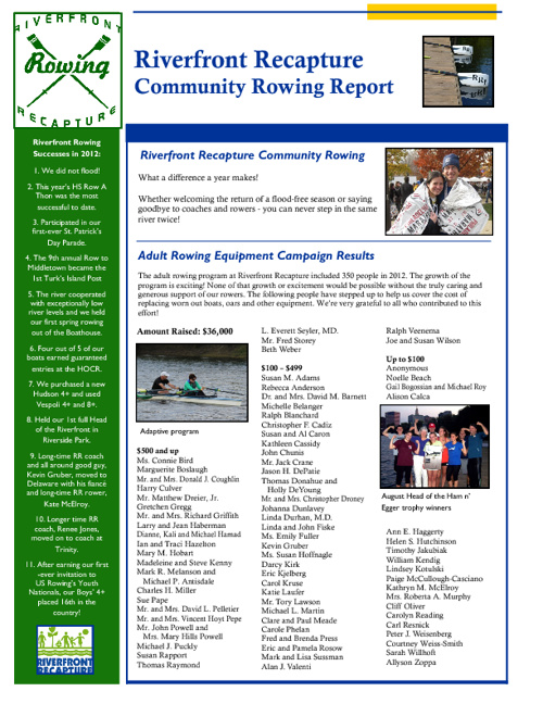 Riverfront Recapture Community Rowing Report 2012