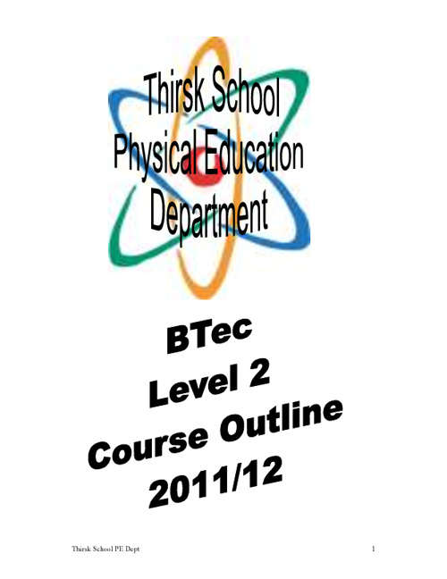 BTEC Level 2 Course Outline