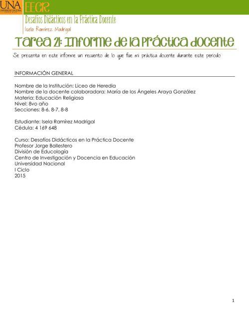 Tarea 21 Informe de la Realización de la práctica