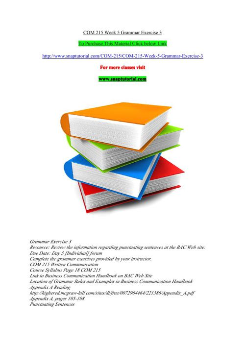 COM 215 Week 5 Grammar Exercise 3