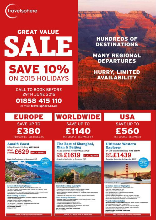 Great Value Sale - Save 10% on Selected 2015 Holidays