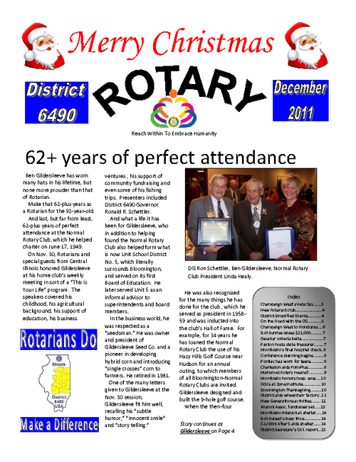 Rotary (District 6490) December 2011 Newsletter