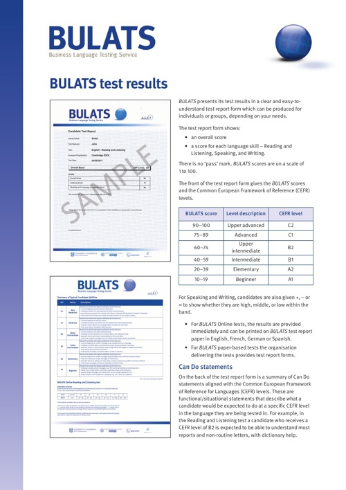 BULATS - Test Results