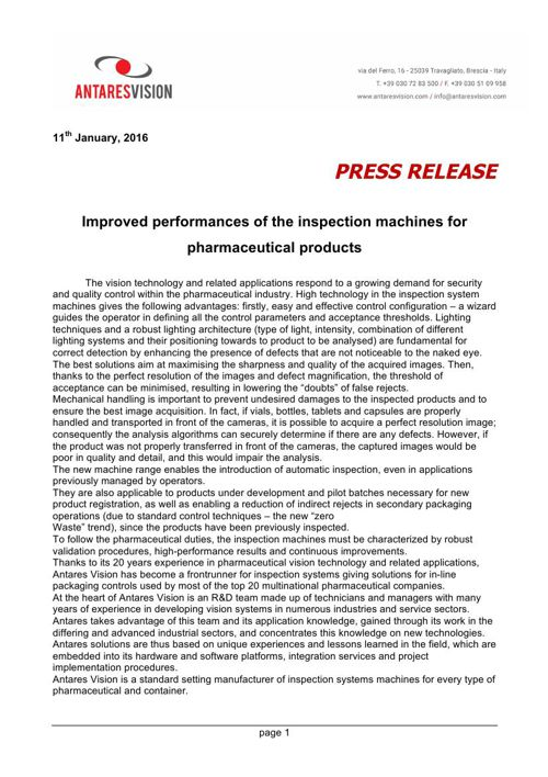 Improved performances of the inspection machines for pharmaceuti