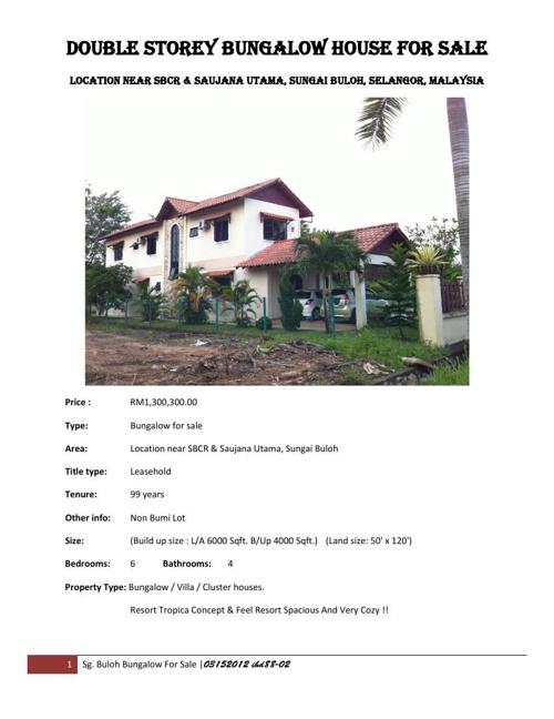 Promotion Sg. Buloh Bungalow For Sale M