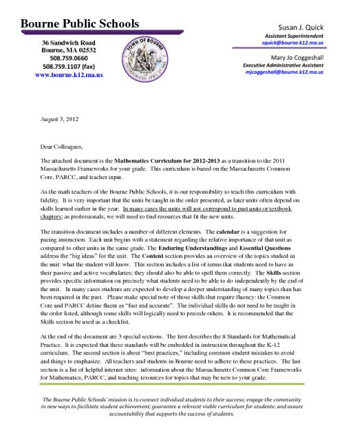 Transistion Letter