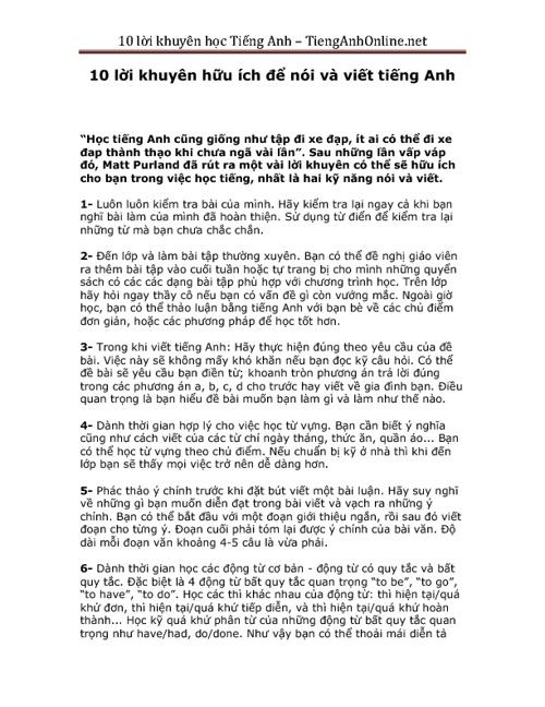 10 loi khuyen huu ich khi hoc Tieng Anh