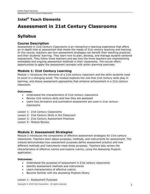 Elements Assessment Syllabus
