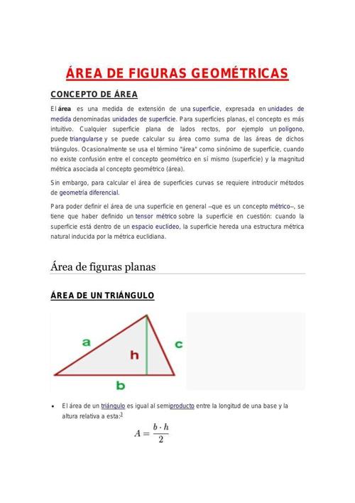 ÁREA DE FIGURAS GEOMÉTRICAS